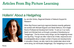 Big Picture Learning - Hollerin' About a Hedgehog